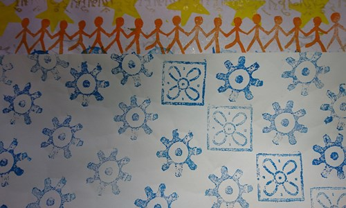 Adult learning Week event - Simple Block Printing with Lino and mixed media.