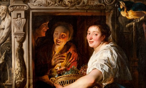 Jacob Jordaens' painting 'A Maidservant with a Basket of Fruit and Two Lovers'