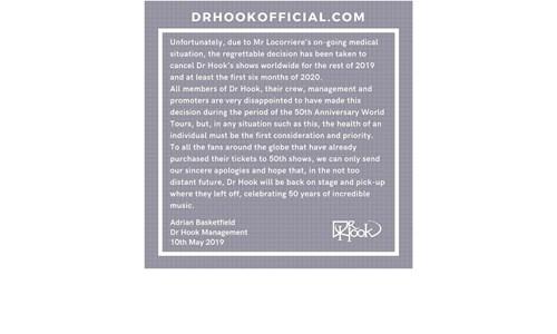 Dr Hook starring Dennis Locorriere - 50th Anniversary Tour